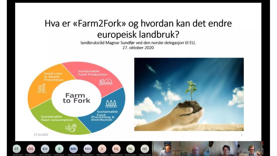 """Webinaret """"Farm to Fork - hva er det?"""" 27. oktober 2020 på Teams."""
