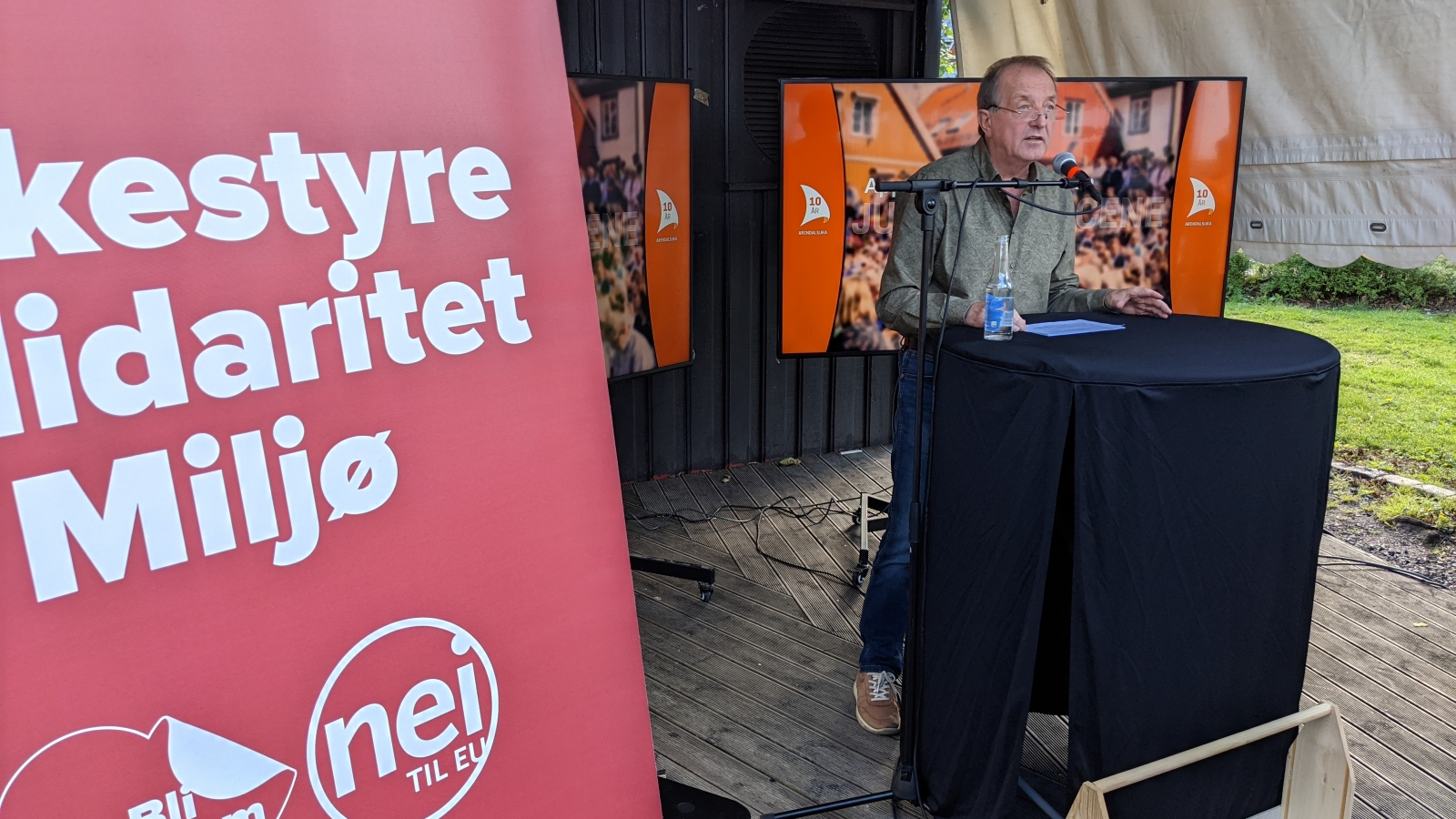 Roy Pedersen holder appell under Arendalsuka 2021.