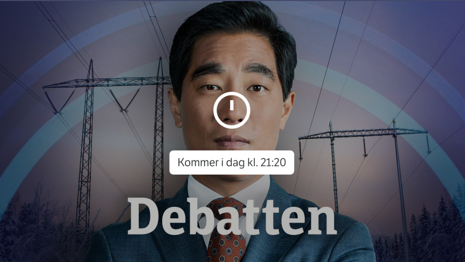 Forhåndsreklame for Debatten med programleder Fredrik Solvang.Skjermbilde fra NRK.