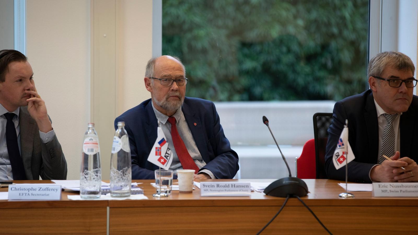 Svein Roald Hansen er leder for EFTAs parlamentarikerdelegasjon. Her fra møte februar februar 2020. Foto: EFTA-sekretariatet.