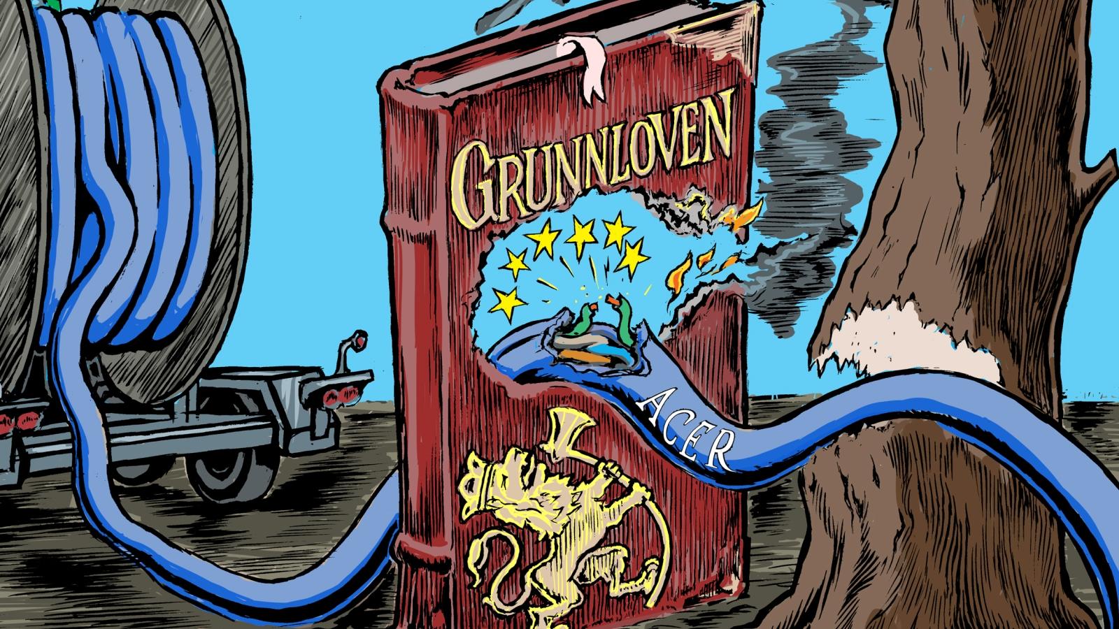 Illustrasjon av Jørgen Bitsch, utsnitt av forsiden til Nei til EUs skriftserie Vett nr. 3 2020