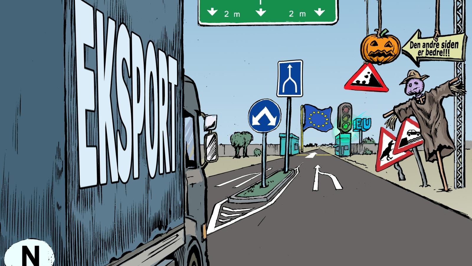 Tegning av Jørgen Bitsch, utsnitt av forsiden til Nei til EUs skriftserie Vett nr. 1 2020.