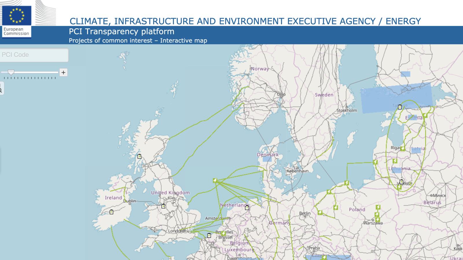 Fra EU-kommisjonens interaktive kart over PCI-prosjekter for elektrisitet.