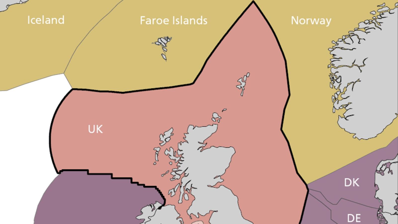 Utsnitt av kart som viser forholdet mellom ulike grenser brukt under nasjonale og internasjonale forpliktelser (kilde: Joint Nature Conservation Committee).