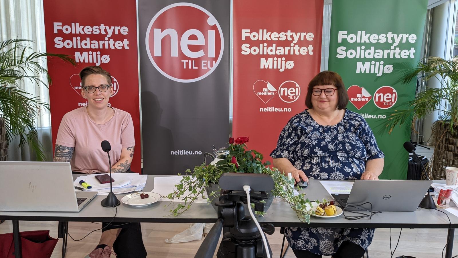 Nei til EUs digitale rådsmøte 5. juni 2021 ble ledet med stødig hånd av Hilde Loftesnes Nylén og Heidi Larsen.