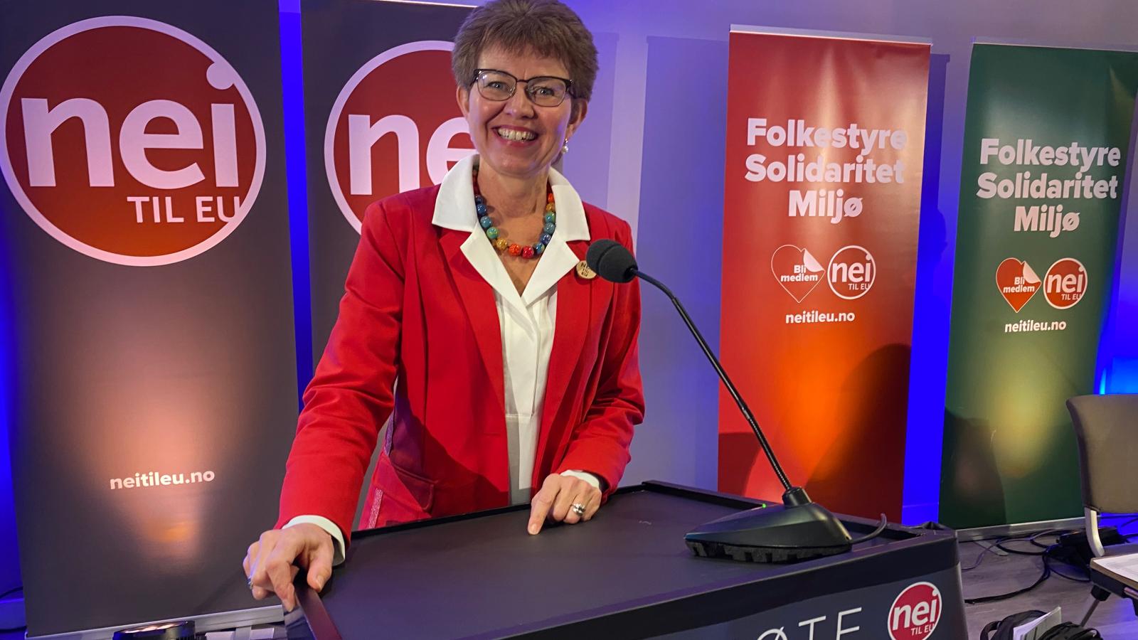 Kathrine Kleveland på Nei til EUs landsmøte 6. november 2020.