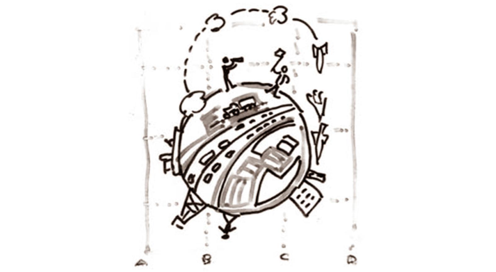 """Illustrasjon av Sigmund Kvaløy Setreng, fra """"Naturens nei"""", ny utgave 2006. Gjengitt i Vett nr. 2 2020."""