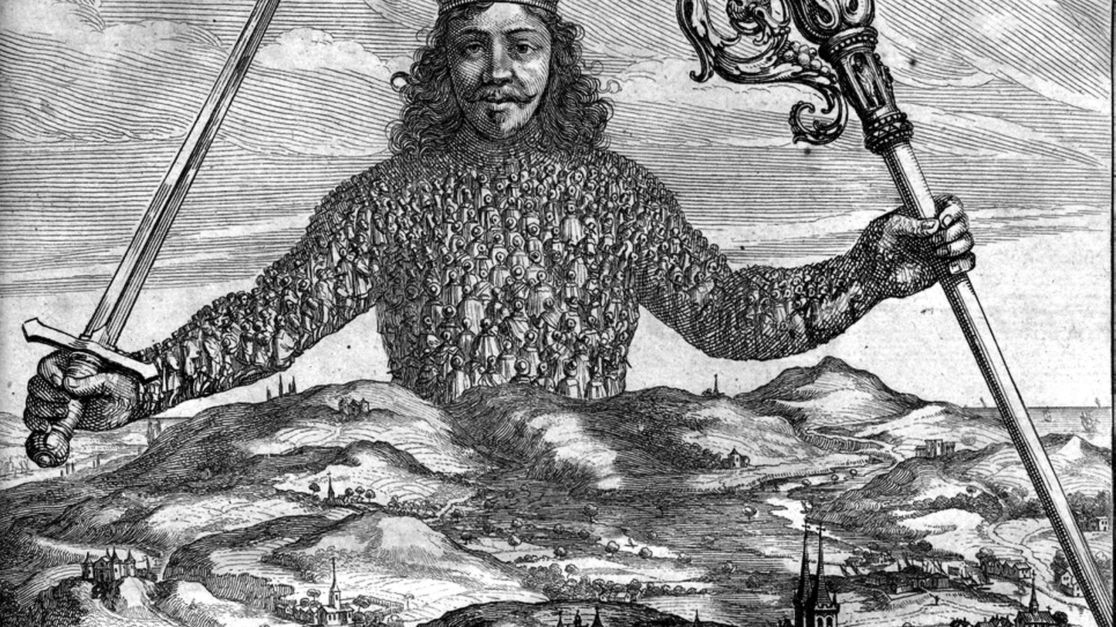 """Fra forsiden til Thomas Hobbes' """"Leviathan"""" (1651), illustrasjon av Abraham Bosse."""