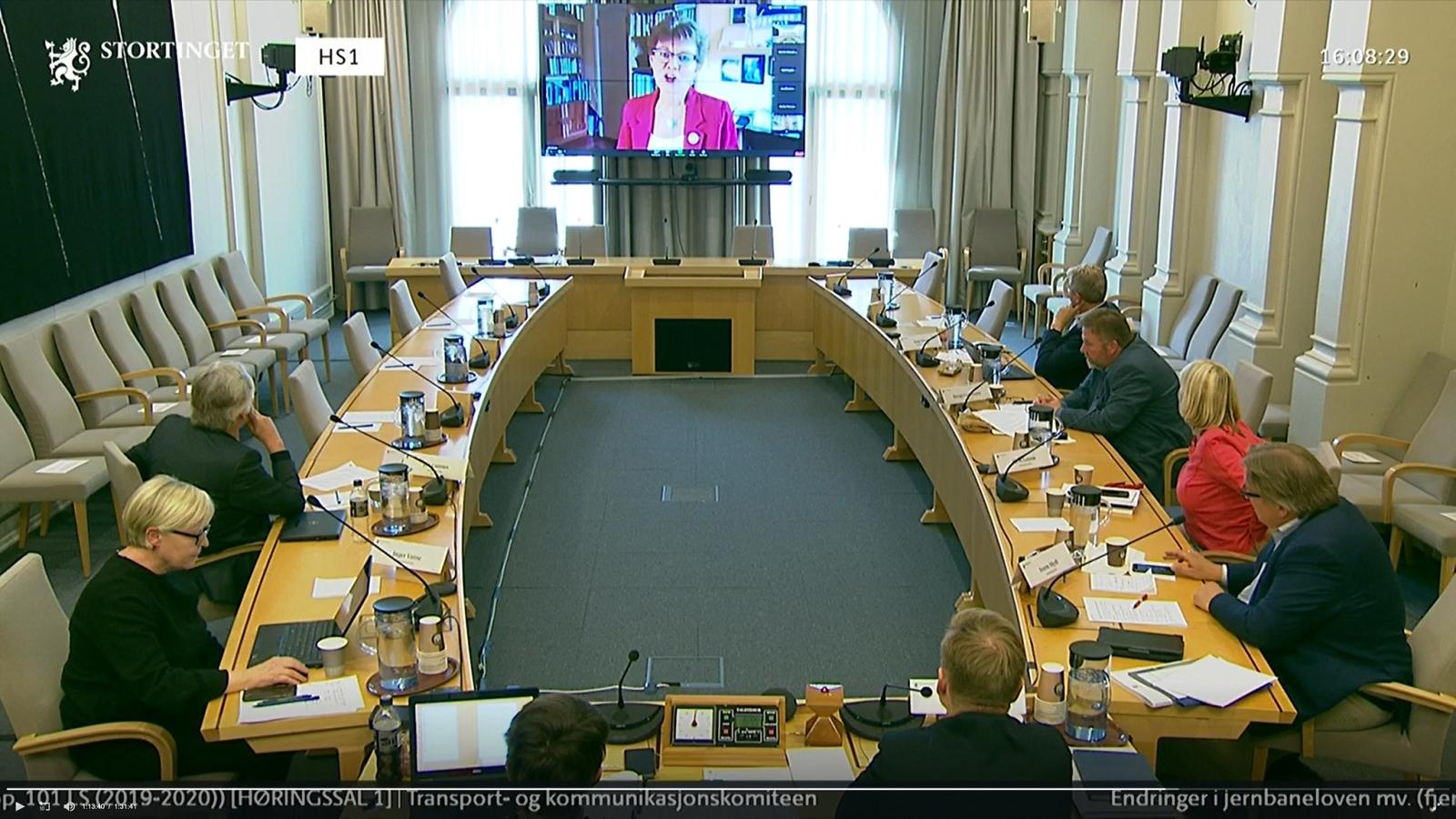 Kathrine Kleveland redegjør for Nei til EUs syn på EUs fjerde jernbanepakke for Stortingets transportkomité 18. mai 2020. (Foto: Stortingets Nett-tv.)