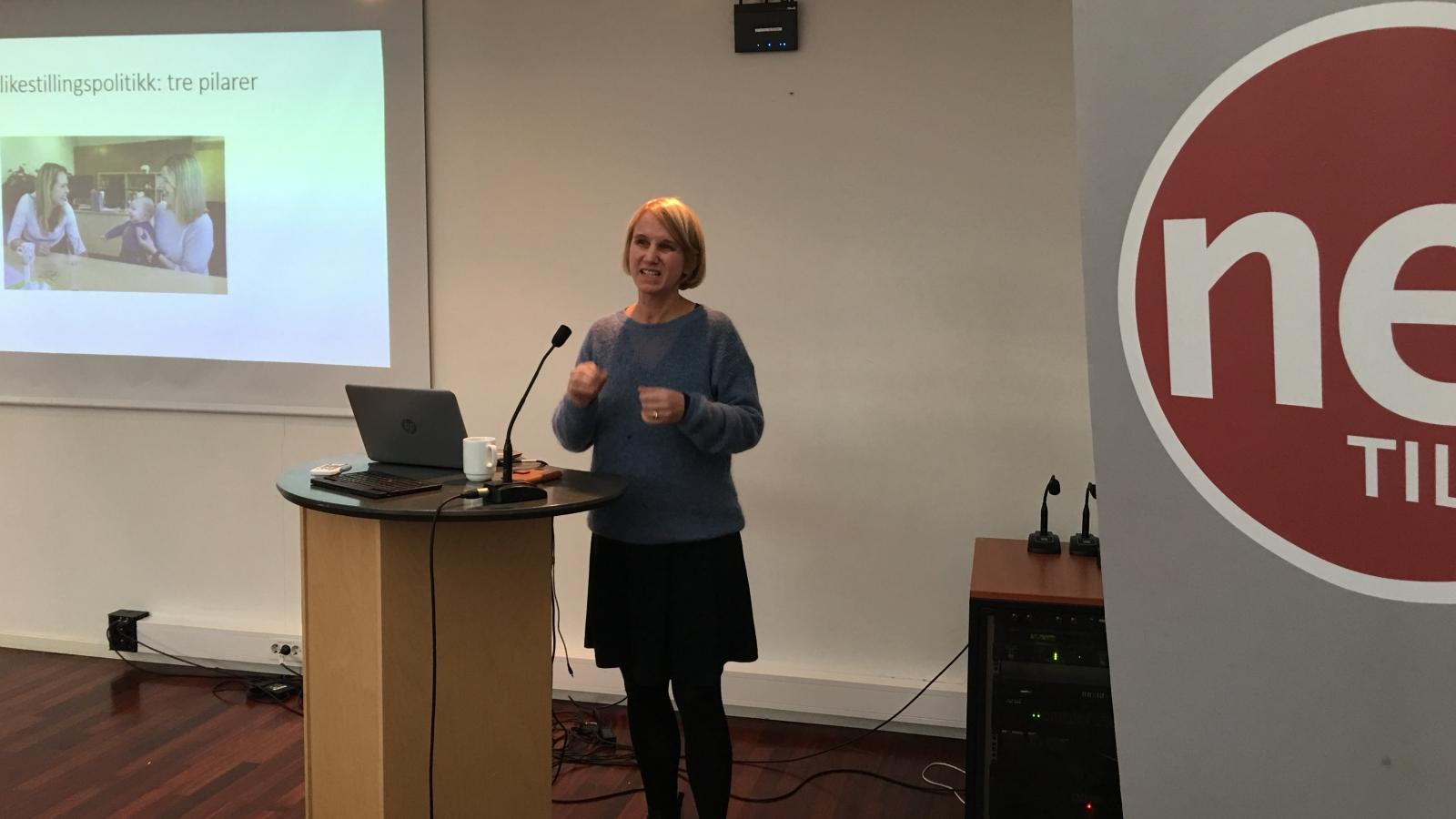 Cathrine Holst fra ARENA på Nei til EUs kvinnekonferanse 2018.