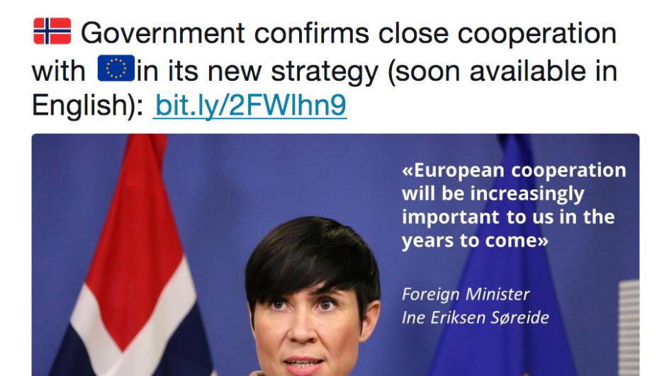 Tweet fra den norsk EU-delegasjonen 29. mai 2018.