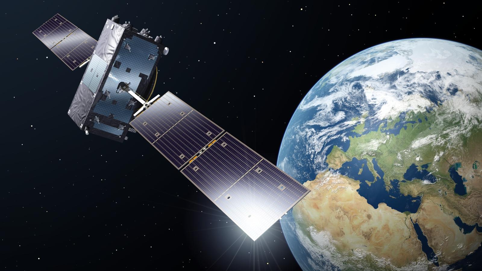 I 2020 var 22 av ESAs Galileo-satelitter i drift. Satelittene utfører mange viktige sivile oppgaver, men gradvis også flere militære. Illustrasjon fra romfartsbyrået ESA.