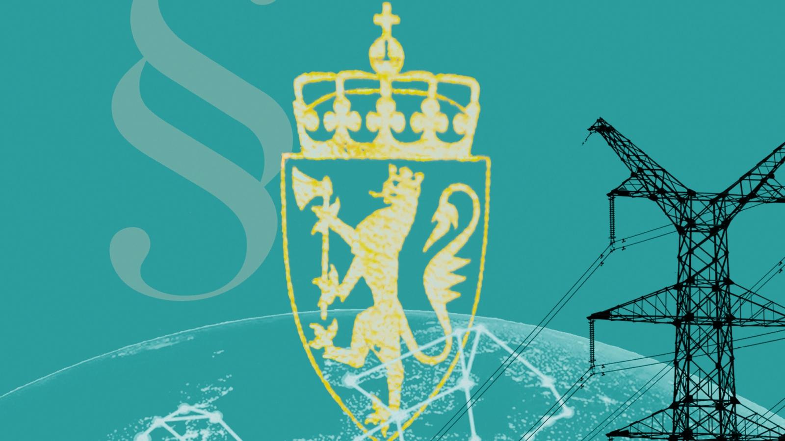 Utsnitt av forsiden til Ørebechs betenkning «EUs Energibyrås Energipakke 3 & 4 og Kongeriket Norges Grunnlov». Illustrasjon: Eivind Formoe / Nei til EU.