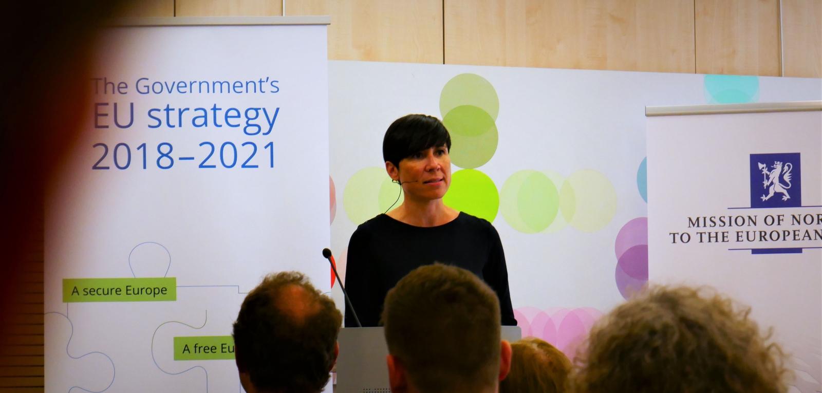 Utenriksminister Ine Eriksen Søreide presenterer Norges EU-strategi for perioden 2018–2021.