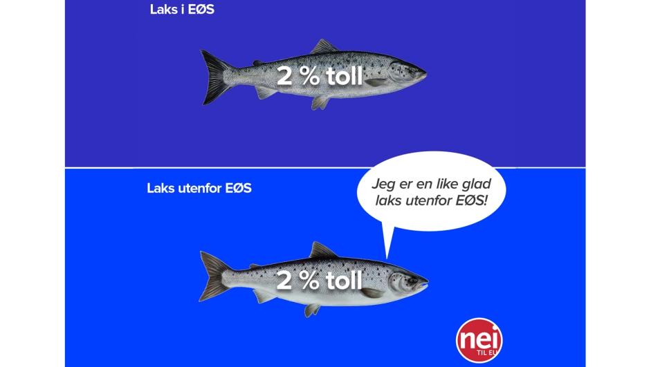 Tollen på laks er den samme med og uten EØS-avtalen. (Illustrasjon: Eivind Formoe og Jan R. Steinholt / Nei til EU.)