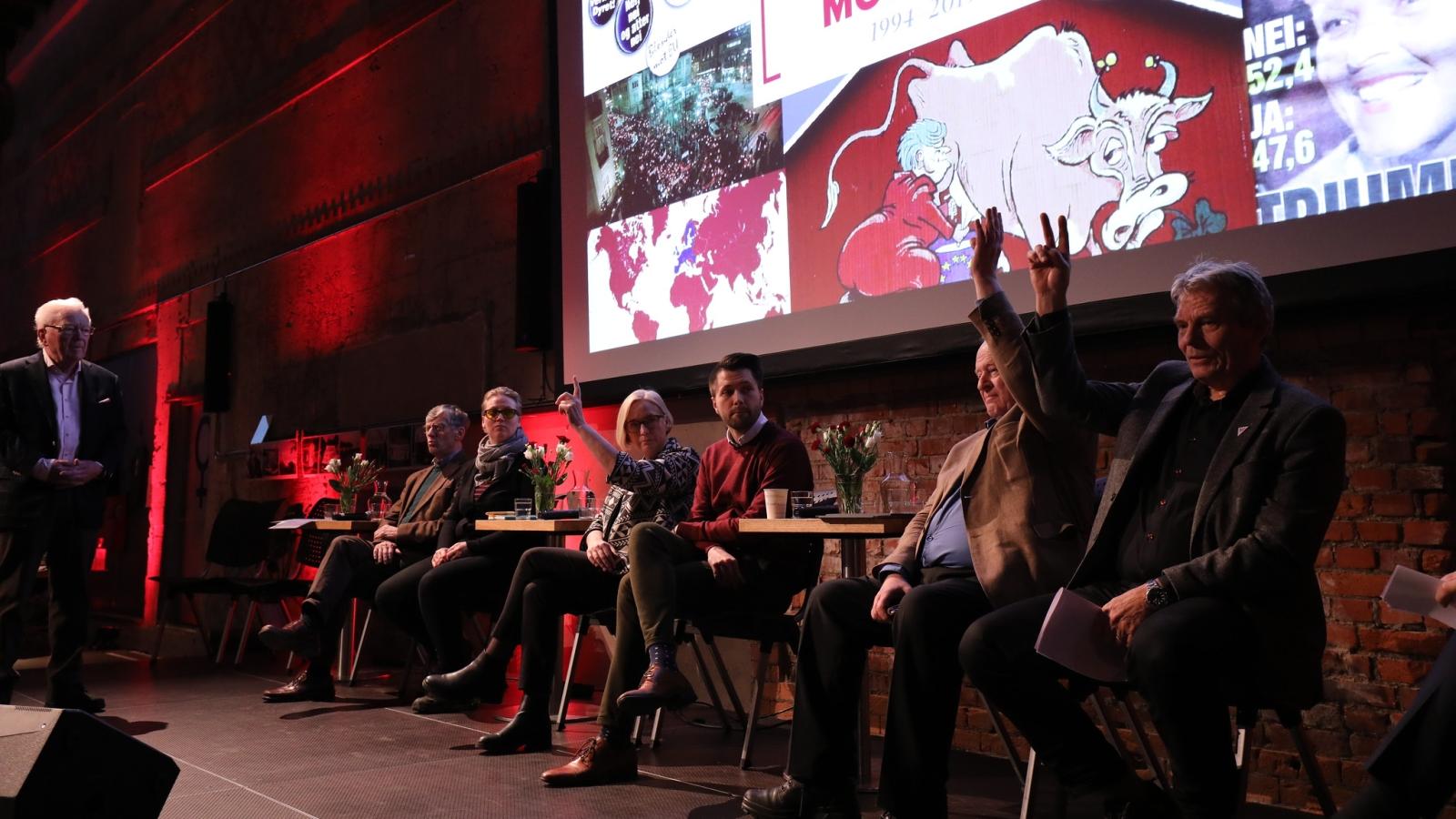 Geir Helljesen (t.v.) styrte debatten mellom Einar Steensnæs (KrF), Jorunn Folkvord (Rødt), Åsmund Aukrust (AP), Marit Arnstad (SP), Bjørn Kristian Svendsrud (FpU), Odd Einar Dørum (V) og Arne Nævra (SV).