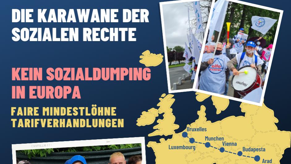 Plakat for karavanen mot sosial dumping.