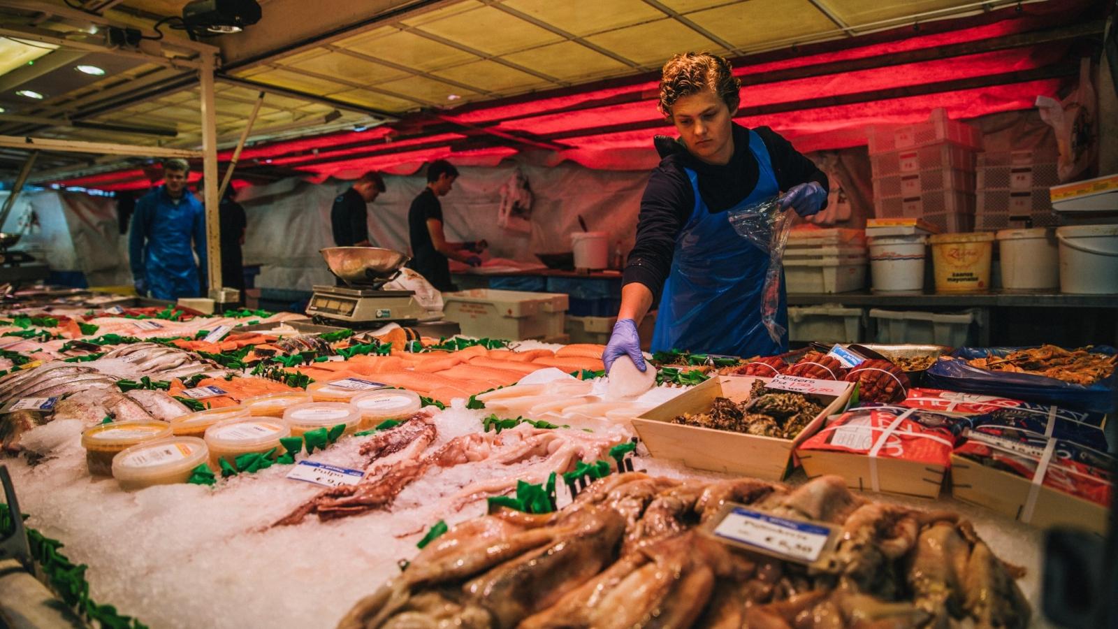 Fiskemarked i Frankrike. Foto: Norges Sjømatråd.