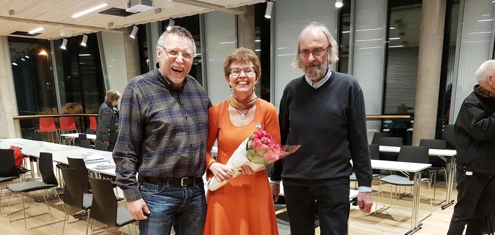 Jens Petter Hvidsten, Kathrine Kleveland og Gunnstein Rudjord på årsmøtet i Ski og Oppegård Nei til EU 21. februar 2018.