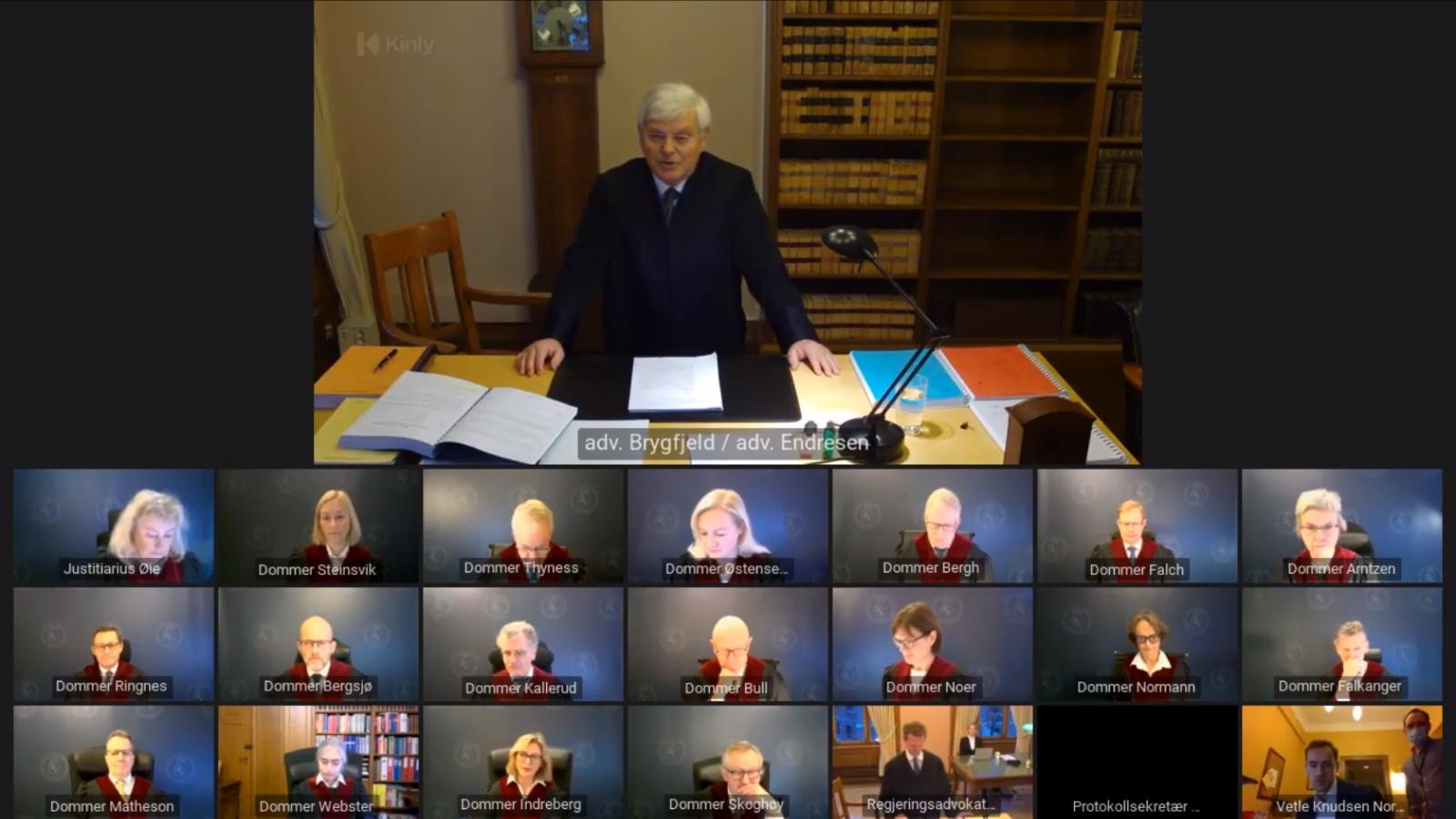 Nei til EUs advokat Kjell Brygfjeld prosederer i ACER-saken for Høyesterett 13. januar 2021.