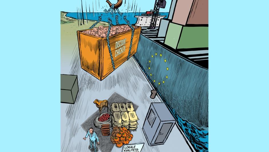 Utsnitt av forsidetegningen til Vett nr. 2 2021, illustrasjon av Jørgen Bitsch.