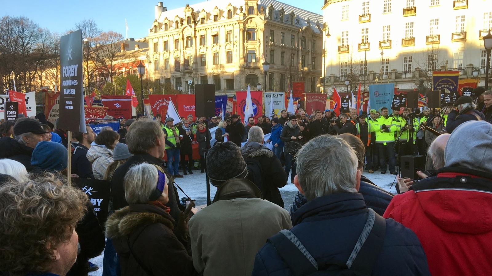 Streik mot bemanningsbransjen 15. november 2017. EØS, vikarbyrådirektivet og arbeidslivet var viktige tema.
